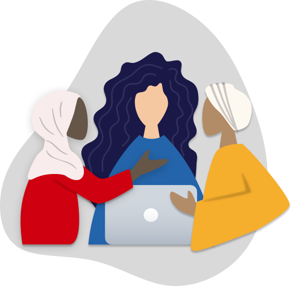illustration of a three women working together over a laptop
